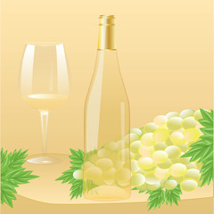 A bottle of white wine with a cork, a large glass, a bunch of grapes with leaves - realistic - on a decorative light background - art creative vector illustration.