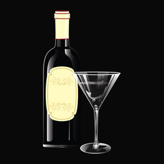 Wine bottle with cork, vintage label, glass, - realistic - isolated on black background - art creative vector illustration.