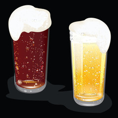 Two glasses of beer with a great foam on a black background - art creative vector illustration