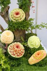 Fresh Fruit Carving in restaurant