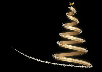 Luxurious Invisible Christmas Tree with Golden Ribbon and little bow on Black Background with copy space