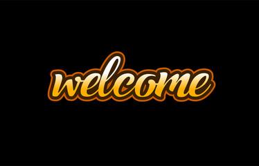 welcome word text banner postcard logo icon design creative concept idea