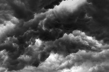 Over head Shot of rain cloud ; weather change ; black and white