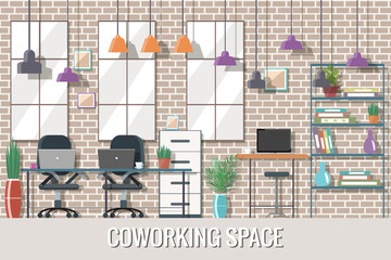 Vector illustration of coworking space. Working place, creative office.