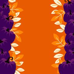 Purple pumpkins on orange border background card template. October holidays banner copy vertical empty space flyer vector.