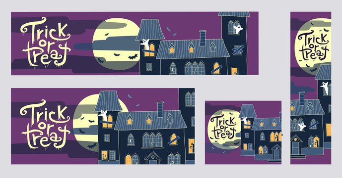 Halloween trick or treat web banners with spooky houses vector illustrations. Collection of four different sizes banners: 970x250, 720x300, 300x250, 160x600