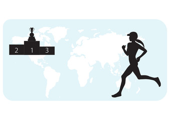 Athlete runs silhouette of woman on world map background, pedestal, winner's cup - white background, art, creative, modern vector illustration.