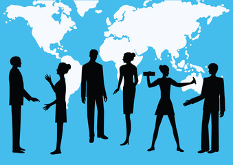 Silhouettes of men and women - colleagues, co-workers, against the background of the world map - blue background - art, creative, modern vector illustration