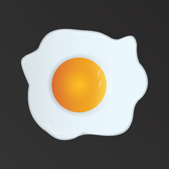 Fried eggs on a black background, realistic - art creativity modern miniature. Vector illustration