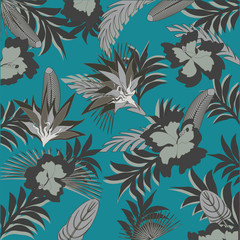 Exotic abstract gray flowers on a dark turquoise background - art creative modern vector illustration