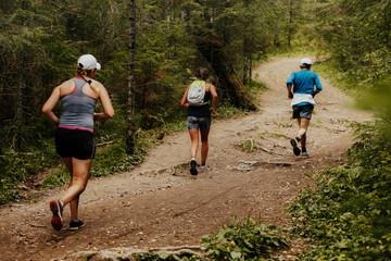 Fotomurales - three runners running forest trail marathon race