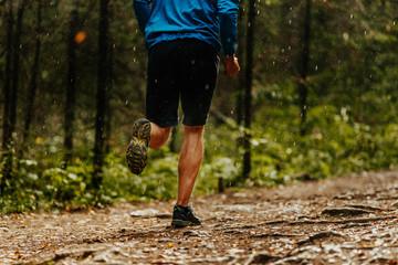 Wall Mural - male runner athlete running forest trail in rain