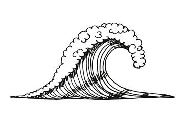 sea wave. vector illustration hand drawing