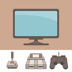 Classic videogames and console icons over white background vector illustration