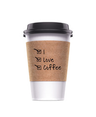 i love coffee paper cup realistic 3d rendering