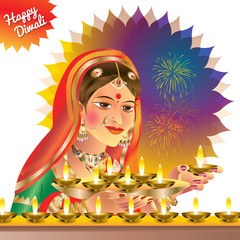 Illustration of  Diwali or Deepavali is the Hindu festival of lights celebrated every year in India