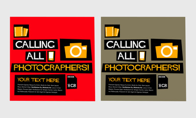 Calling All Photographers! (Flat Style Vector Illustration Quote Poster Design)