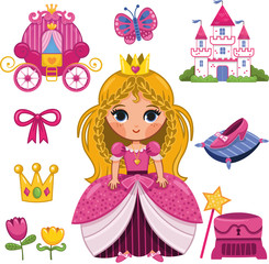 Princess Sticker Set (Vector illustration)