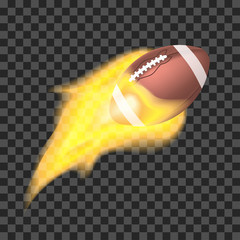 American football ball flaming on a transparent background. Object with fire
