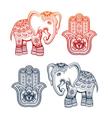 Indian ethnic elephant and hamsa hand with ethnic ornaments