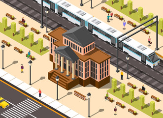 Railway Station Building Composition