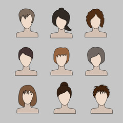 collection of icons of woman in a flat style. female avatars. set of images of young women.