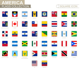Square flags of America. From Anguilla to Venezuela.
