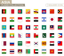 Square flags of Asia. From Afghanistan to Yemen.
