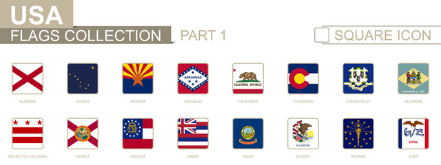 Square flags of US States. Part I from Alabama to Iowa.