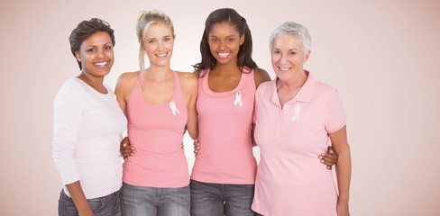 Composite image of portrait of happy women supporting breast