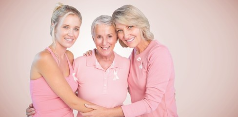 Composite image of portrait of smiling daughters with mother