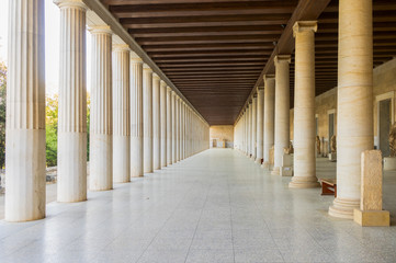 Fototapete - Stoa of Attalos, the exterior colonnade, The Ancient Agora of Classical Athens, Greece