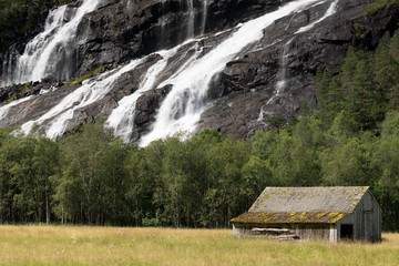 Printed roller blinds Roe wooden house and waterfall in summer, norway