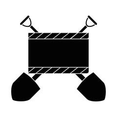construction board with planer and shovels vector illustration design