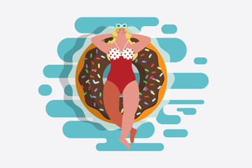 Cartoon character design illustration. Top view girl in swimsuit Lying on a donut shaped rubber ring. Floating in the pool