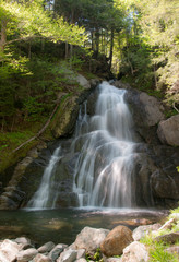 Waterfall in Vermont cascading down rocks