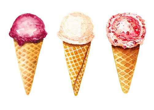 Set of three watercolor ice cream in waffle cone