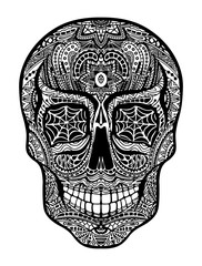 Tattoo skull, black and white illustration on white background, Day of the dead symbol.