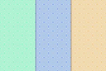 Bright colored set of geometric seamless patterns