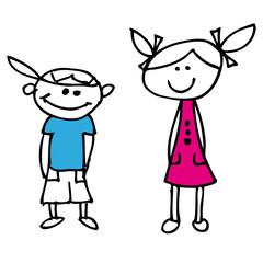 Junge Mädchen Comic Zeichung Vektor