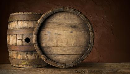 Old Wooden Beer Barrel on the Dark Background