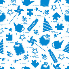 Cute seamless pattern with variety children's goods and toys: bibs, pinwheel, baby bottles, dummy, pyramid and other.
