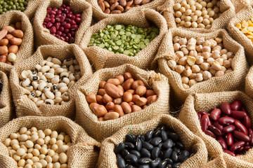 Legumes seed in bag sack