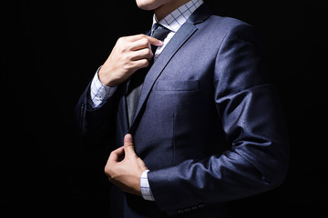 Businessman with Suit Isolated on black background.