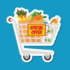 supermarket shopping trolley cartoon vector illustration graphic design