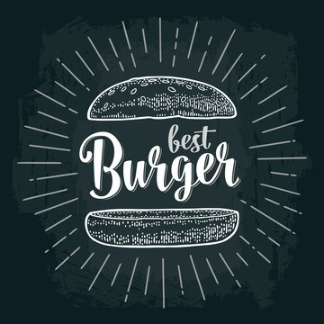Best burger lettering with rays and vintage illustration bun.