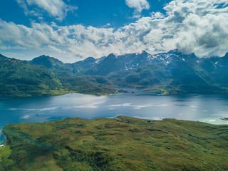 Fotobehang Bergen Yachting in Troll fjord. Aerial view