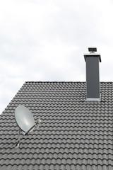 Dach mit Satellitenschüssel und Kamin