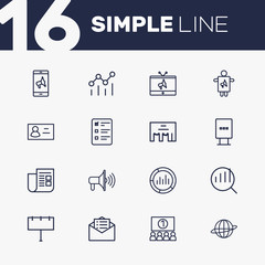 Set Of 16 Trade Outline Icons Set.Collection Of Business Card, Campaign, Email Promotion And Other Elements.