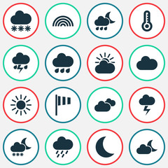 Climate Icons Set. Collection Of Flag, Douche, Rainy And Other Elements. Also Includes Symbols Such As Cloud, Hate, Night.